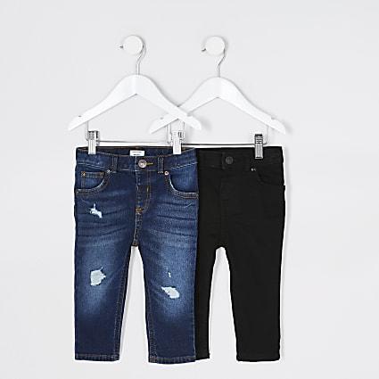 Mini boys blue Sid skinny fit jeans 2 pack