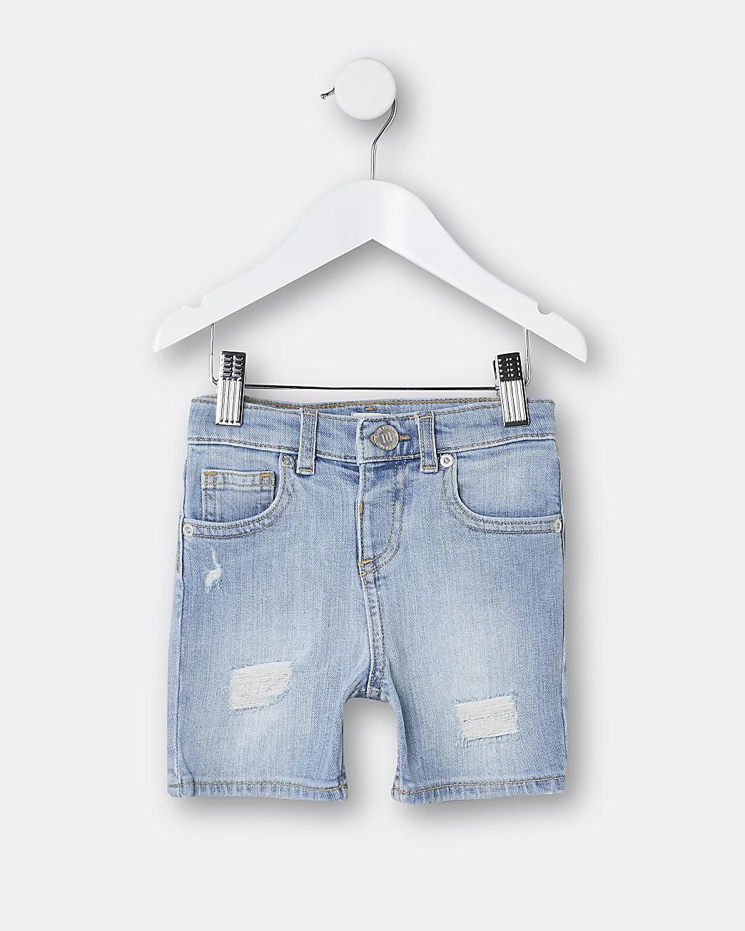 Mini boys blue skinny denim shorts