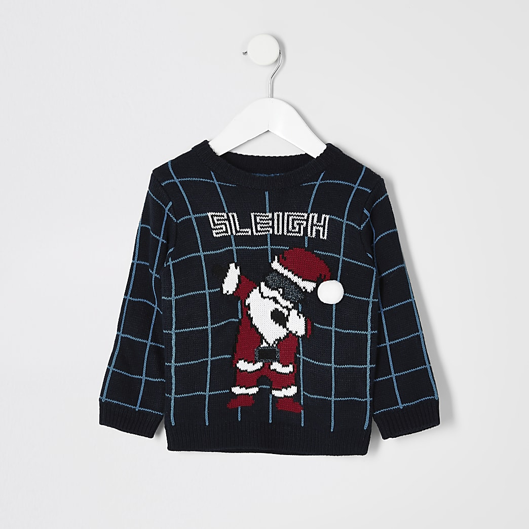 Mini boys blue 'Sleigh' knitted jumper