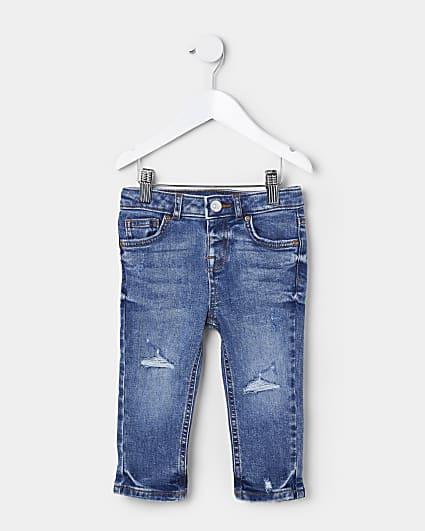 Mini boys blue slim fit rip jeans