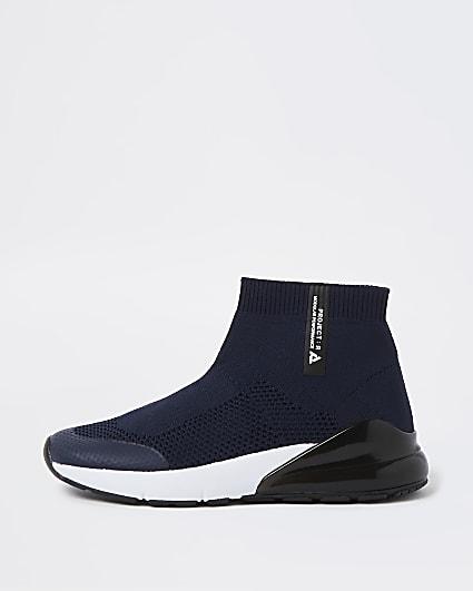 Mini boys blue sock high top trainers