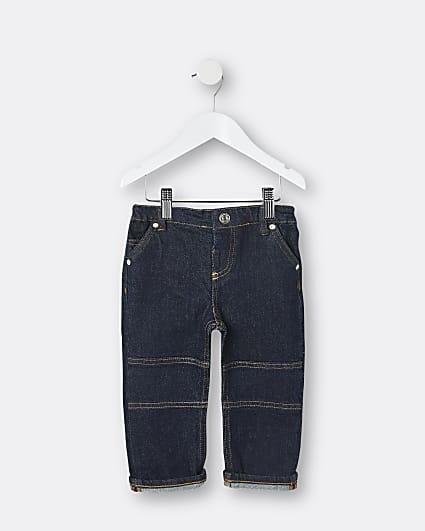 Mini boys blue stitch detail jeans