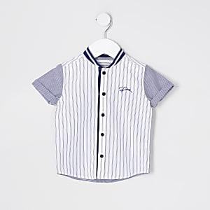 Mini Boys blue stripe baseball shirt