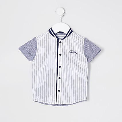 Mini Boys blue stripe baseball shirt