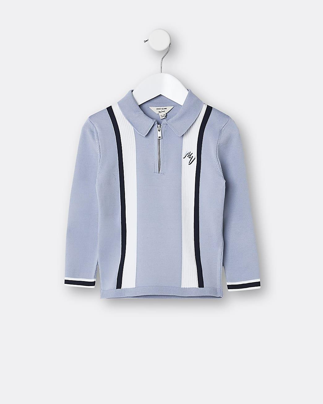 Mini boys blue stripe block polo