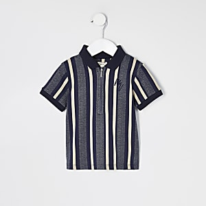 Mini boys blue stripe half zip polo top