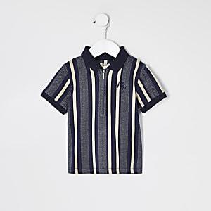 Mini– Blau gestreiftes Poloshirt mit Kurzreißverschluss