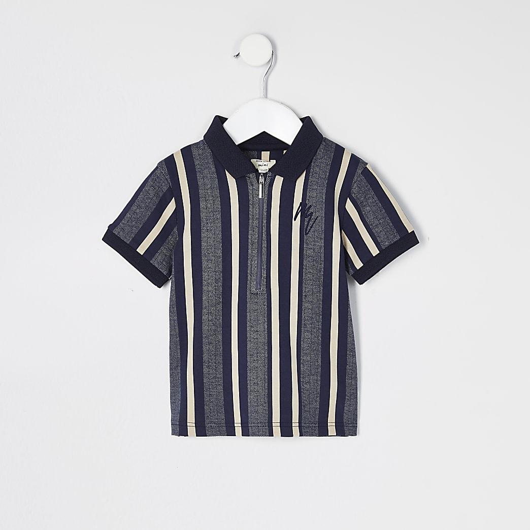 Mini boys blue stripe half zip polo top