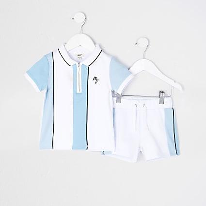 Mini boys blue stripe polo shirt outfit
