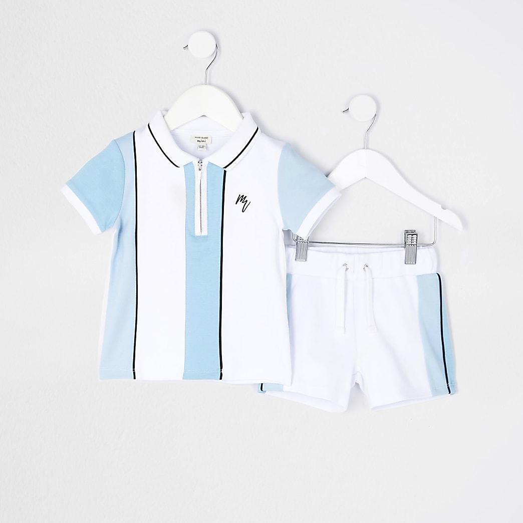 Mini boys blue stripe polo shirt outfit