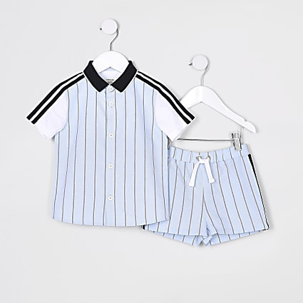 Mini boys blue stripe shirt and shorts set