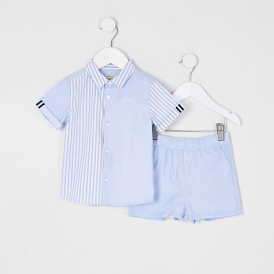 Mini boys blue striped shirt 2 piece set