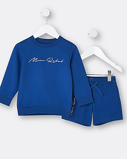 Mini boys blue sweatshirt and shorts outfit