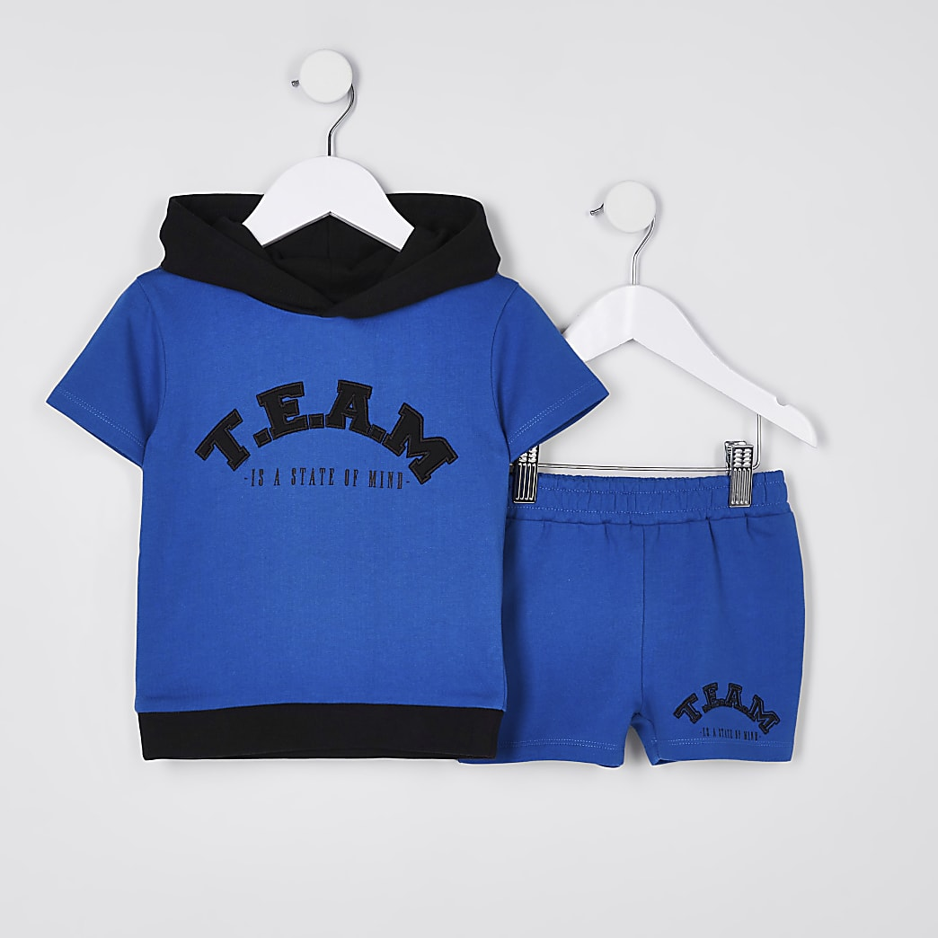 Mini boys blue 'T.E.A.M' hoodie outfit
