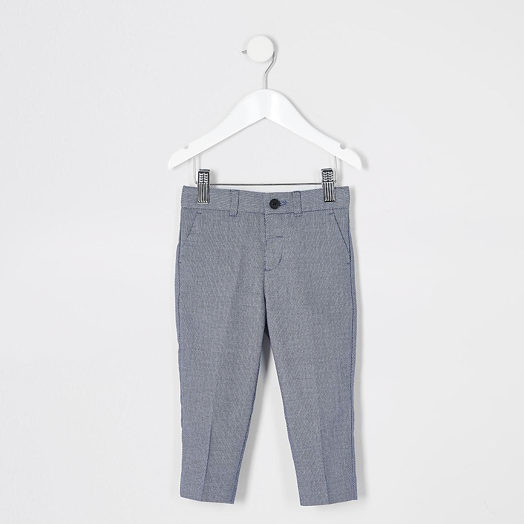 Mini - Blauwe pantalon met textuur en stippen voor jongens