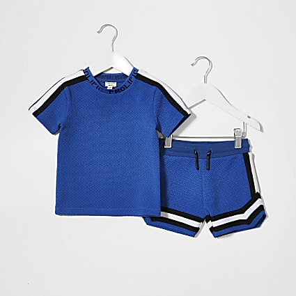 Mini Boys blue texture tape t-shirt set