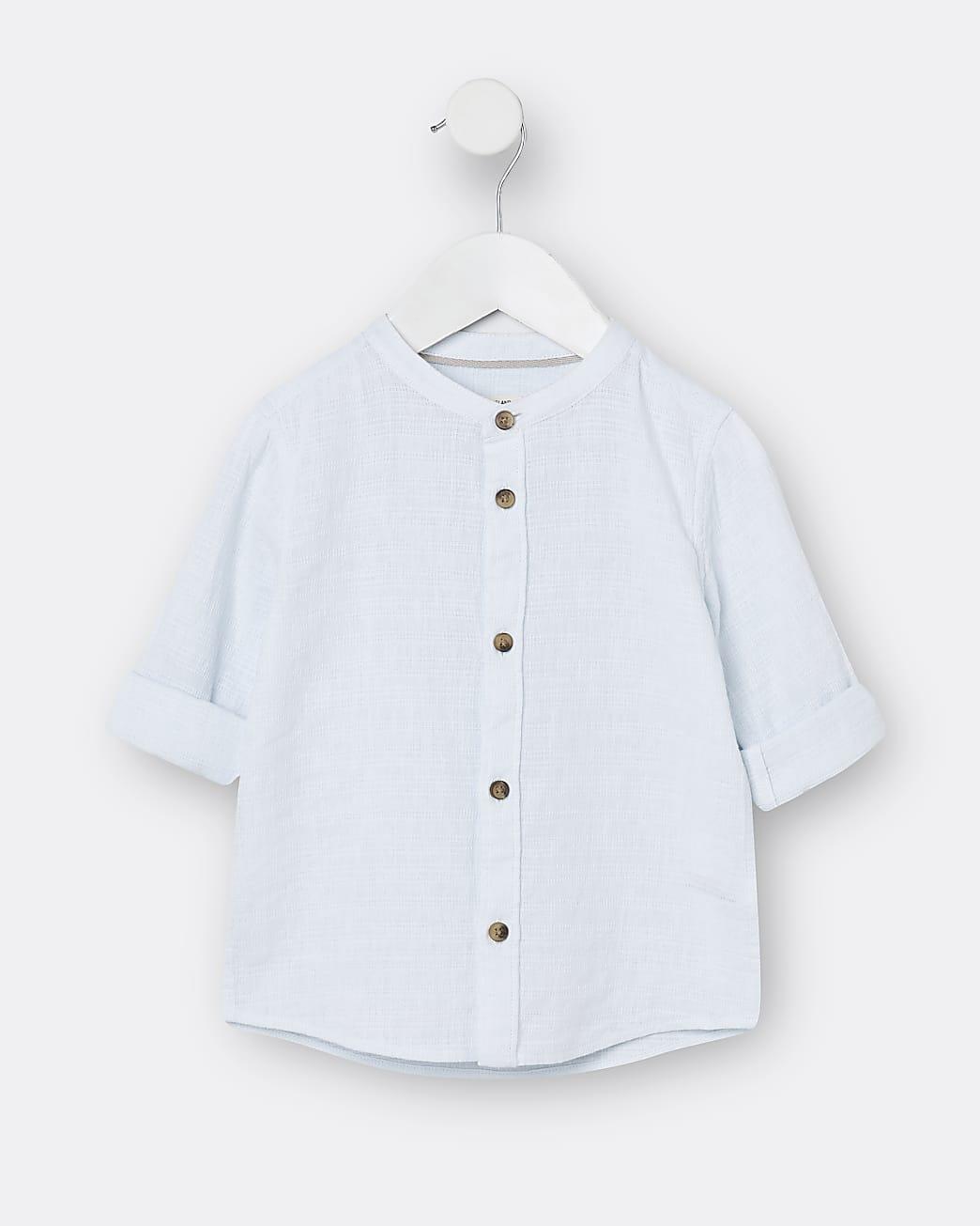 Mini boys blue textured grandad shirt