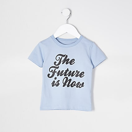 Mini boys blue 'The Future Is Now' t-shirt