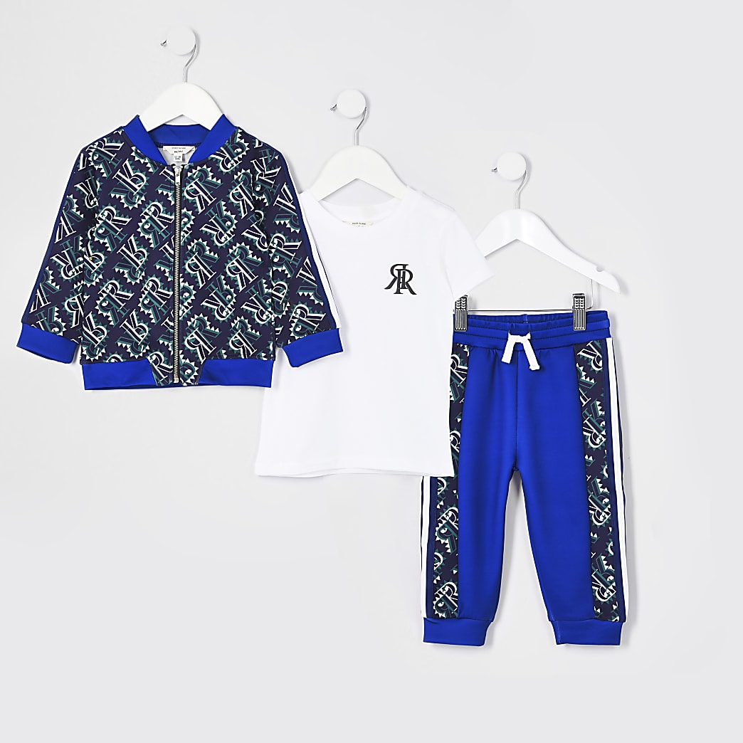 Mini boys blue three piece outfit