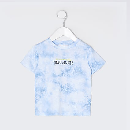Mini boys blue tie dye back print t-shirt