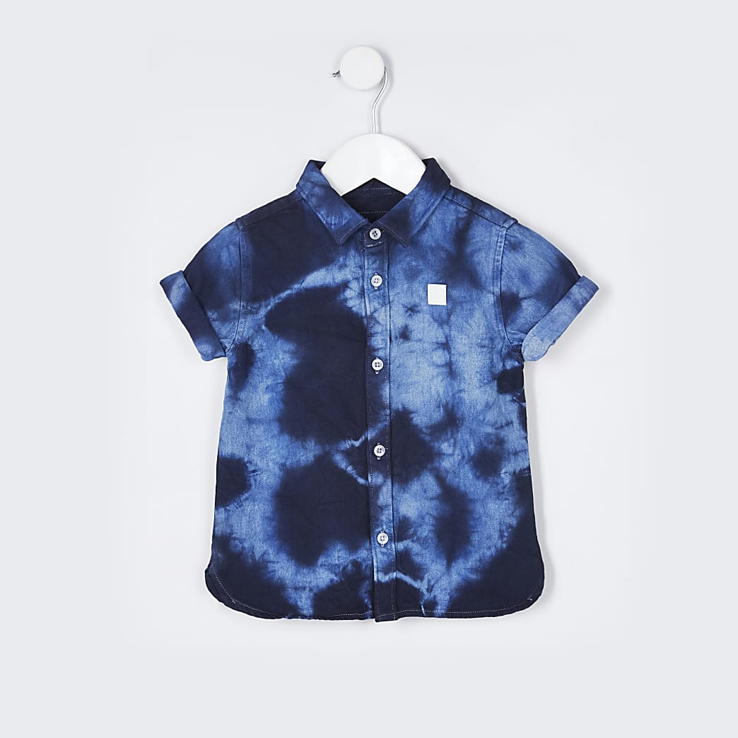 Mini boys blue tie dye shirt