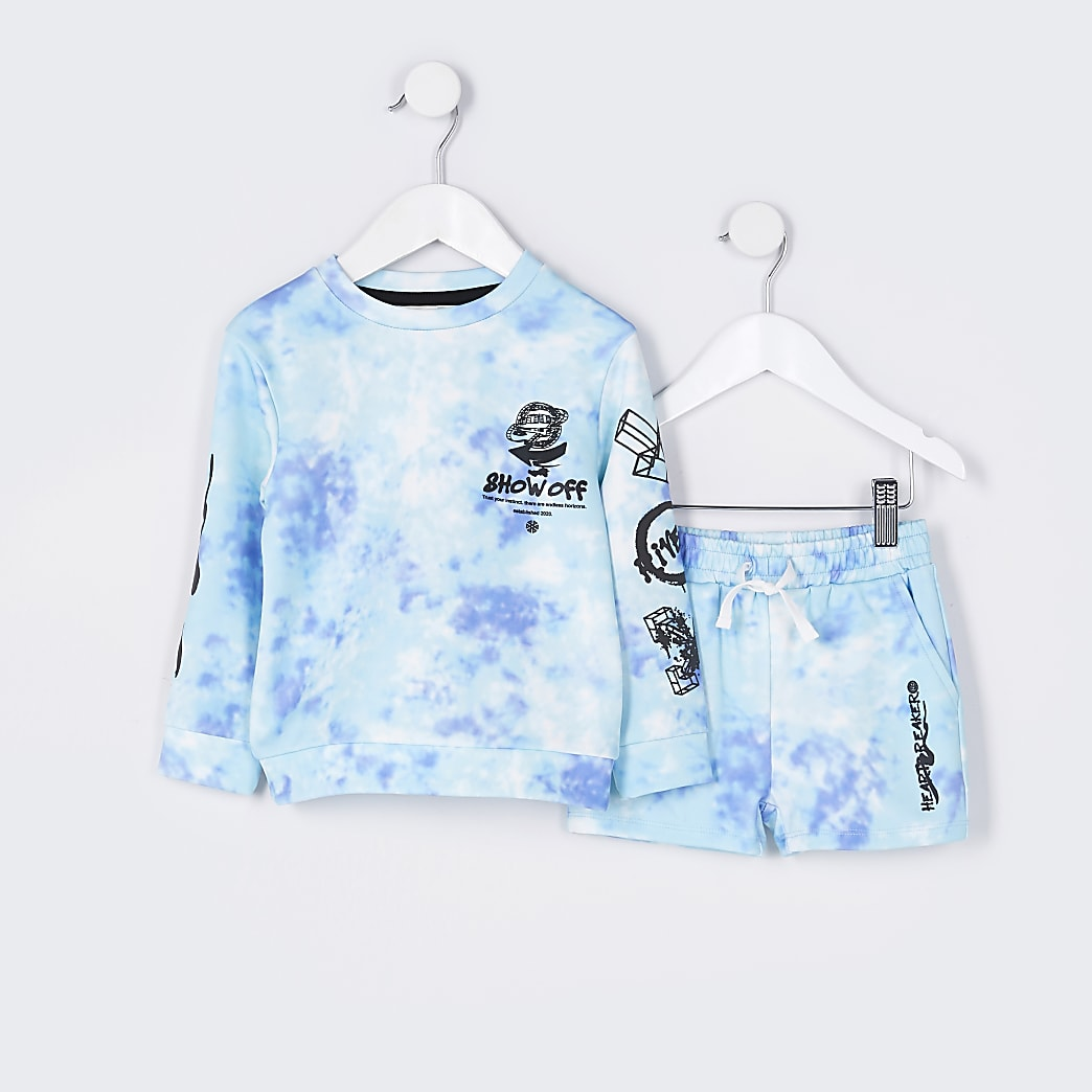Mini boys blue tie dye sweatshirt outfit