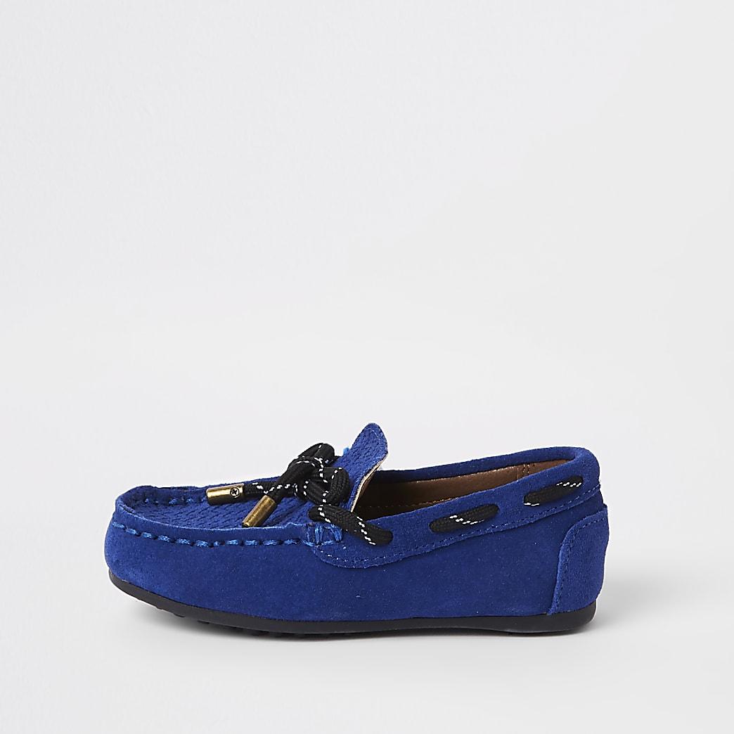 Mini - Blauwe mocassins met strik voor jongens