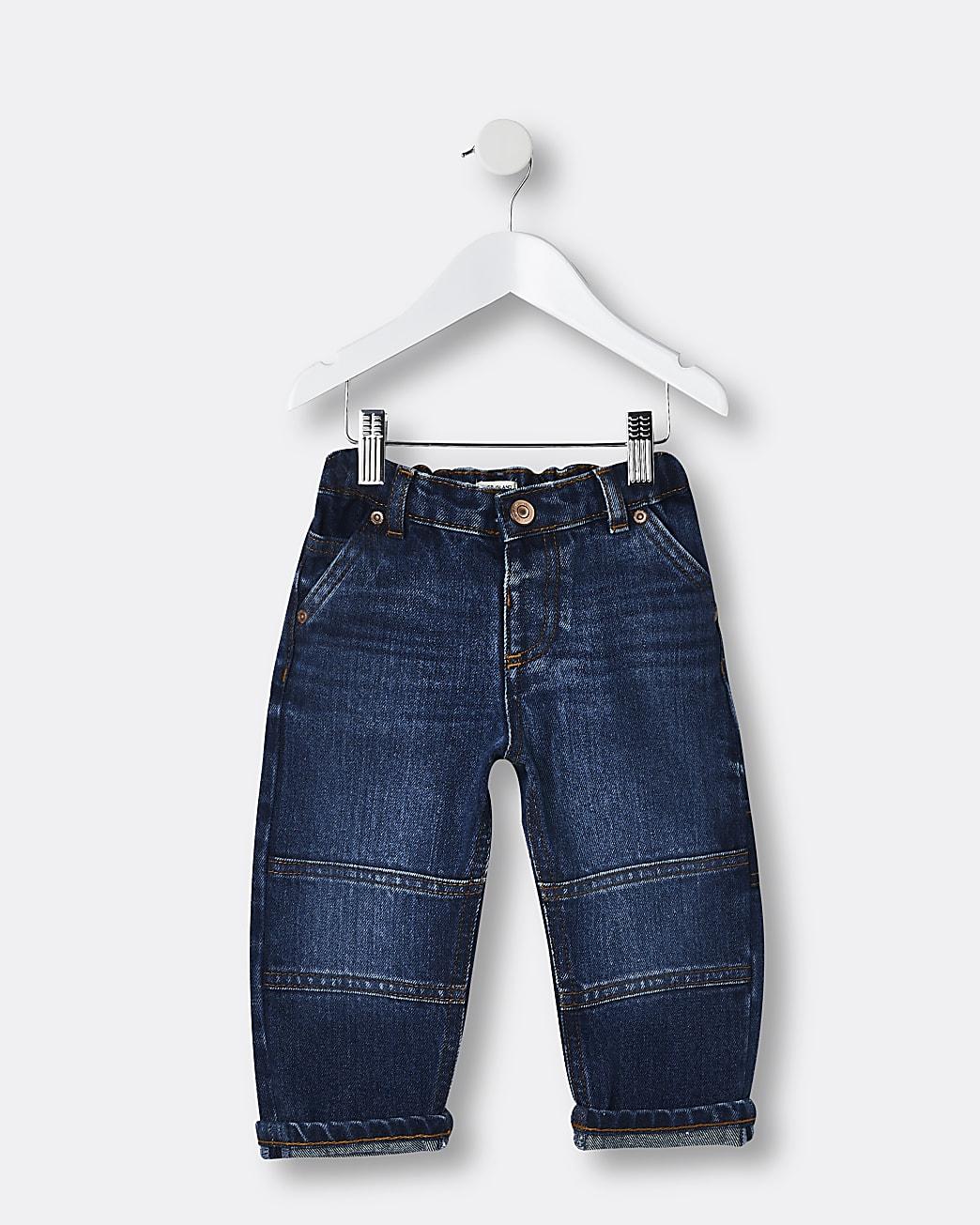 Mini boys blue turn up hem jeans