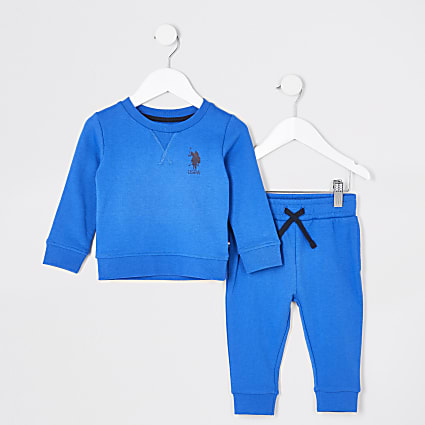Mini boys blue USPA joggers outfit