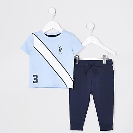 Mini boys blue USPA polo shirt outfit