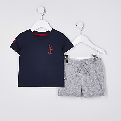Mini boys blue USPA t-shirt and shorts set