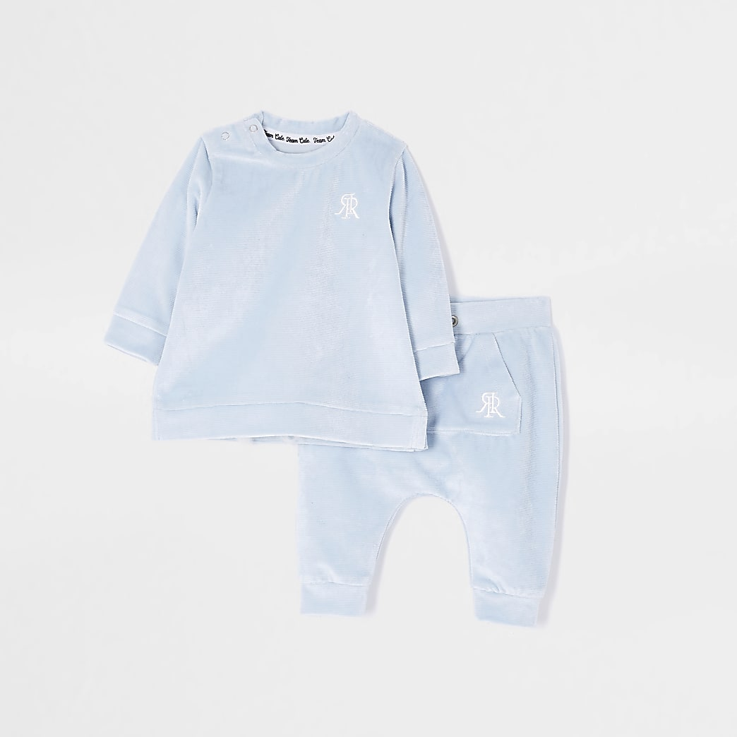 Mini boys blue velour jogger outfit
