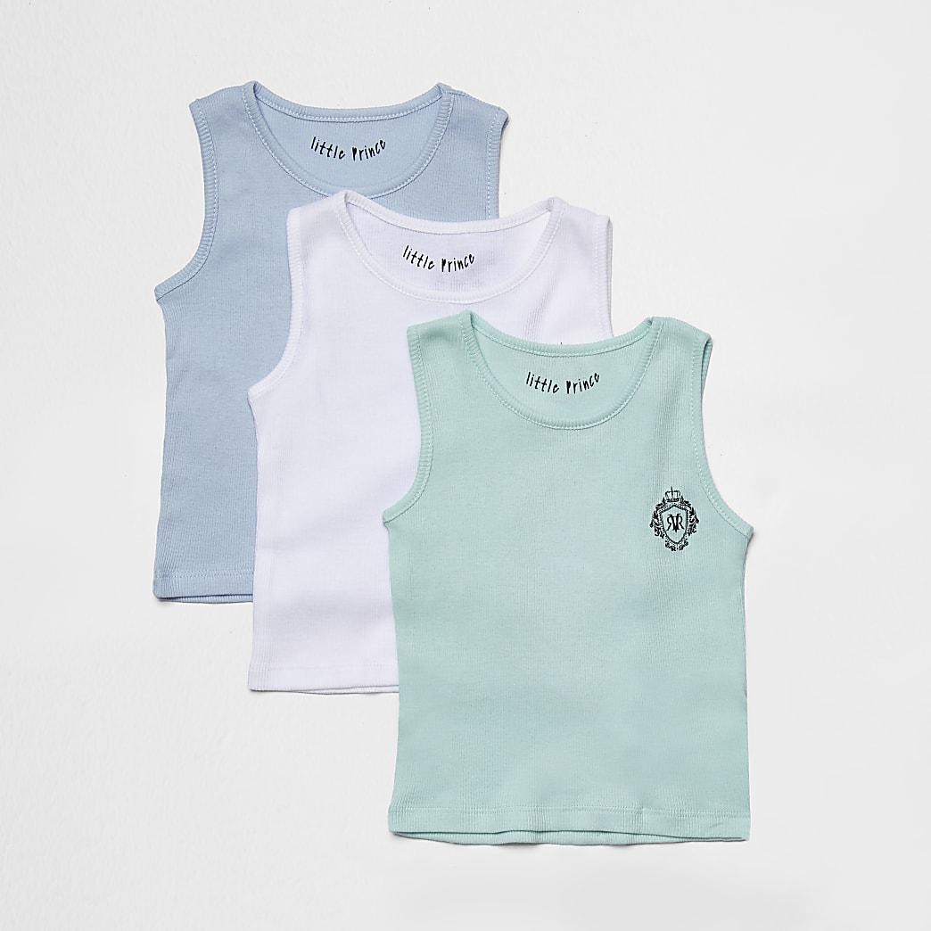Mini boys blue vests 3 pack