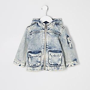 Mini - Blauw washed denim jack met capuchon voor jongens