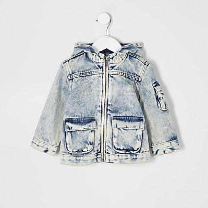 Mini boys blue washed hooded denim jacket