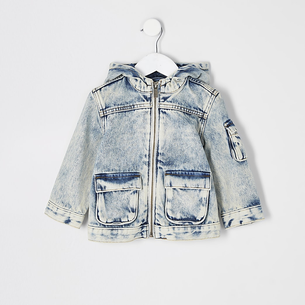 Mini boys blue washed hooded denim jacket