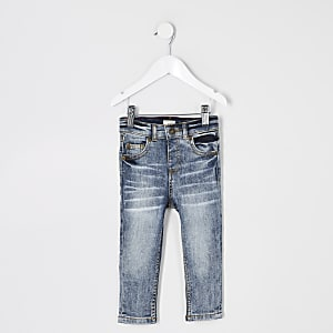 Mini - Blauwe washed skinny-fit Sid jeans voor jongens