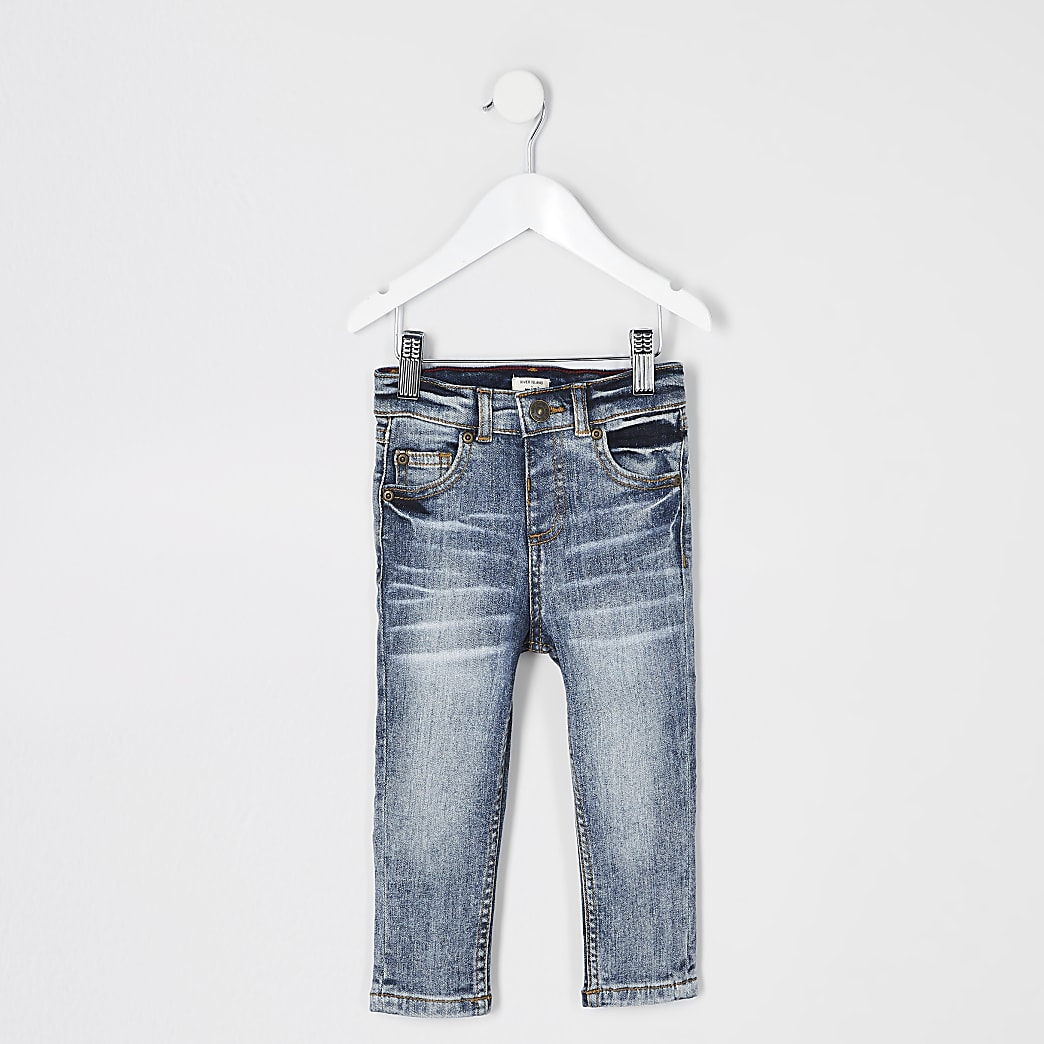 Mini boys blue washed Sid skinny jeans