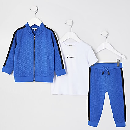 Mini boys blues texture tape tracksuit