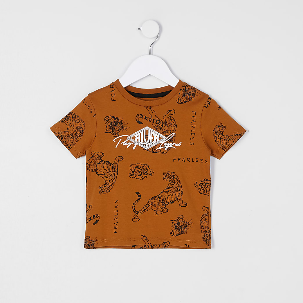 Mini boys brown animal print t-shirt
