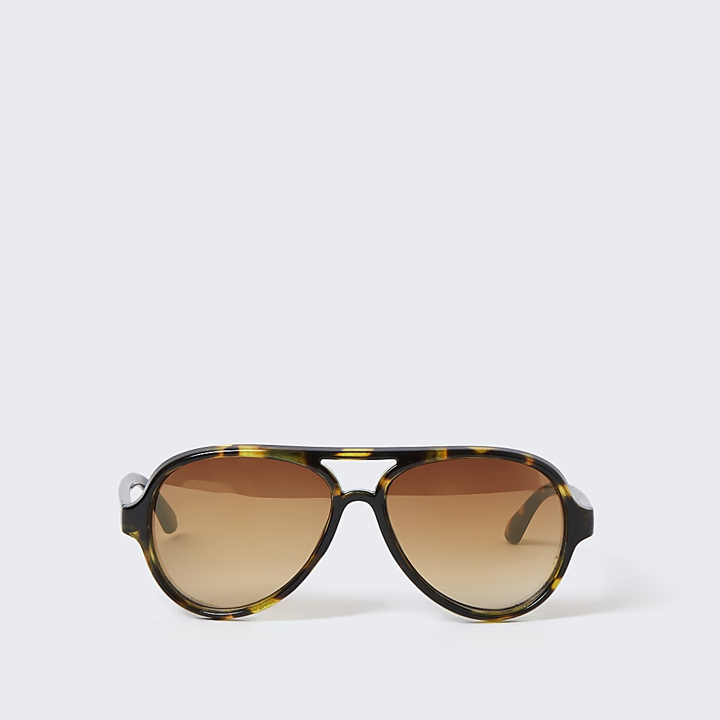 Mini boys brown Aviator blue lens sunglasses
