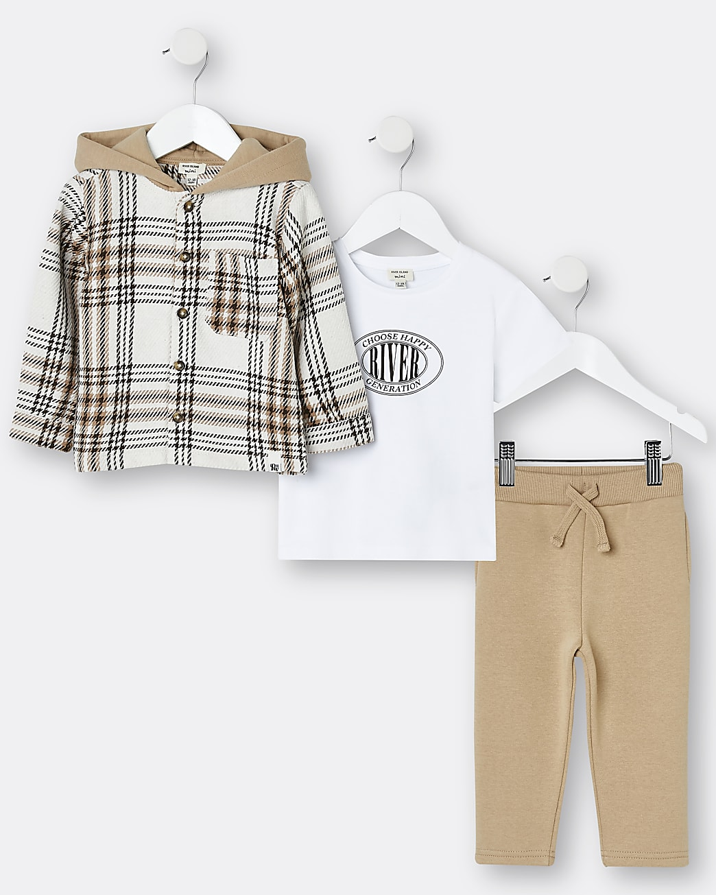 Mini boys brown check shacket 3 piece outfit