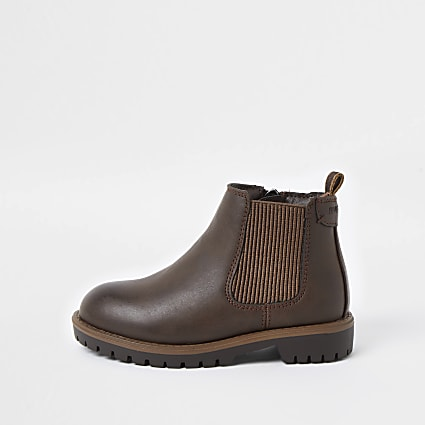 Mini boys brown clumpy chelsea boots