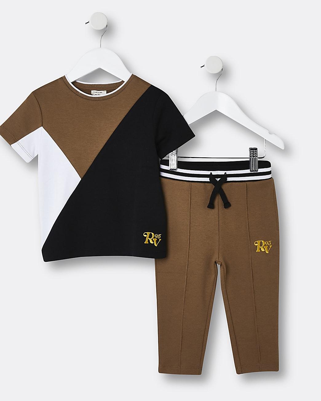 Mini boys brown colour block jogger outfit