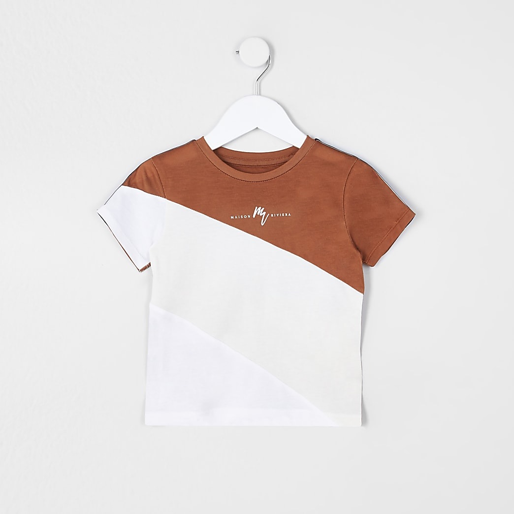 Mini boys brown colour block t-shirt