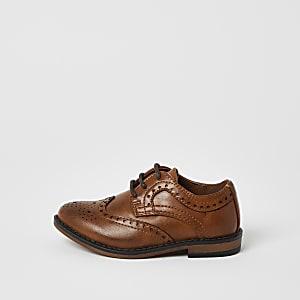 Mini - Bruine brogue schoenen met reliëf en vetersluiting voor jongens