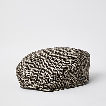 Mini boys brown flat cap