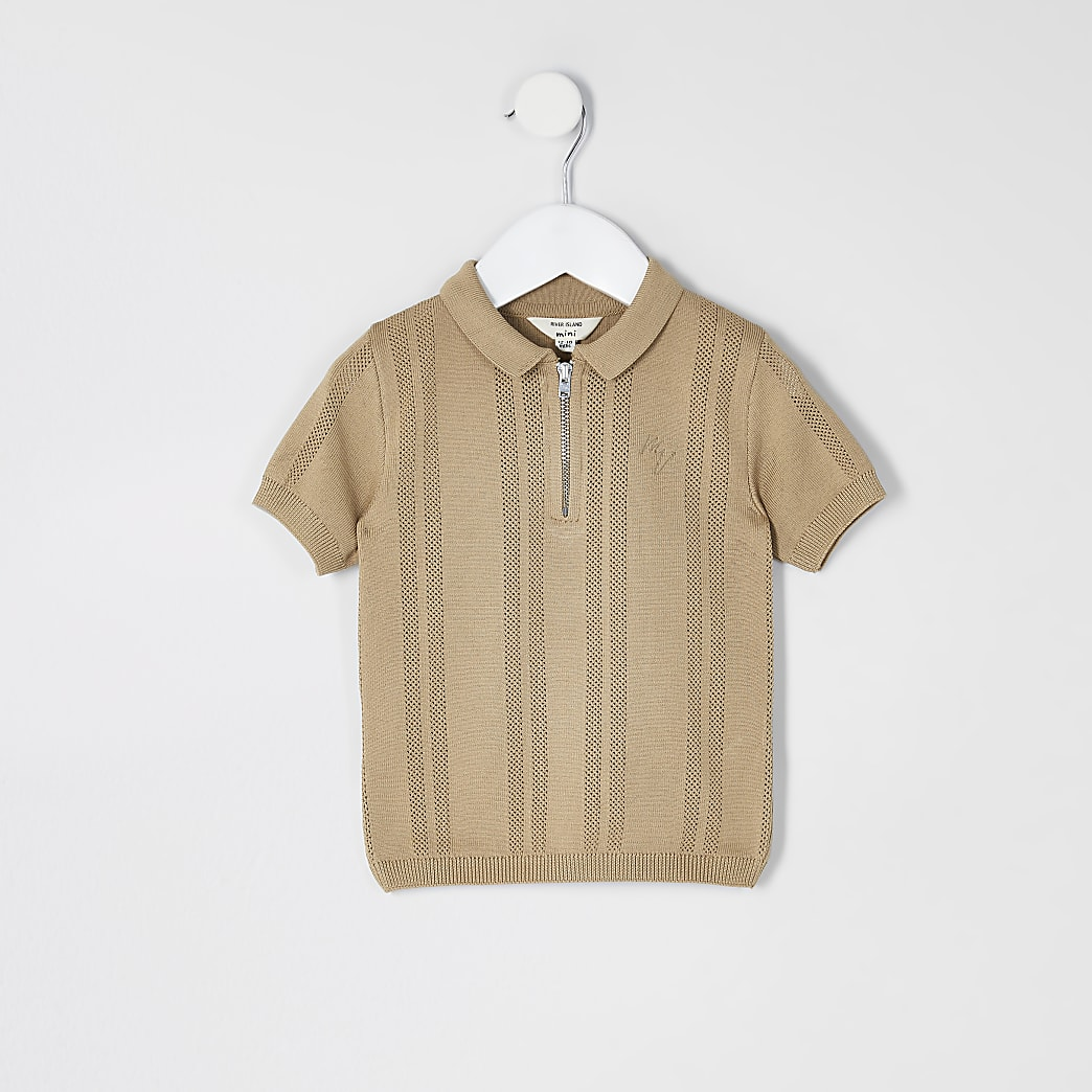 Mini boys brown half zip knitted polo top