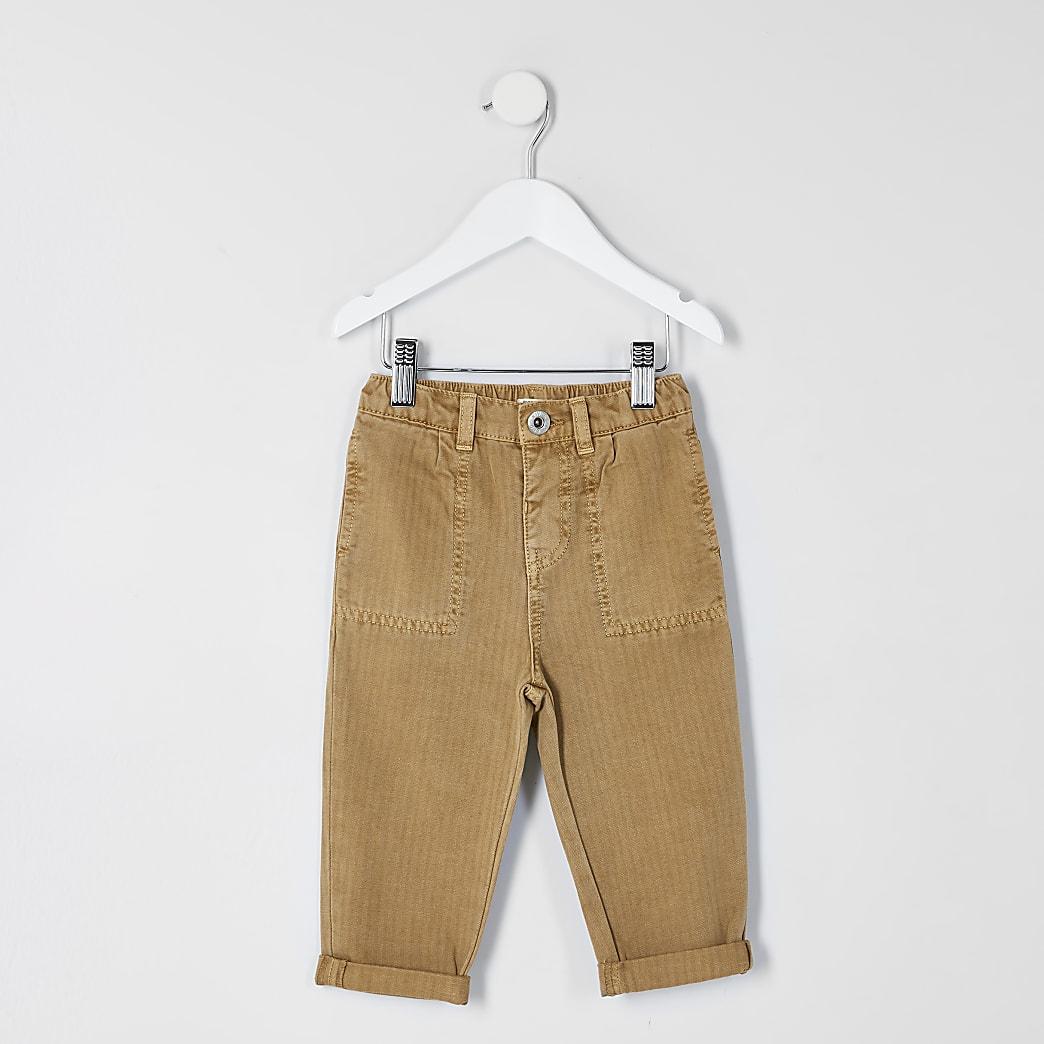 Mini - Bruine broek met visgraattextuur voor jongens
