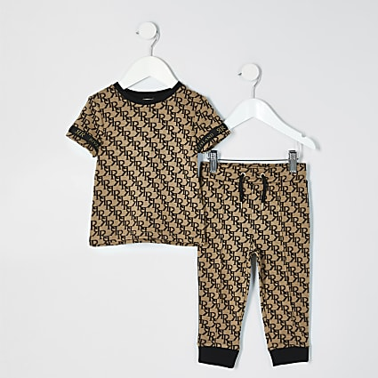Mini boys brown jacquard monogram outfit